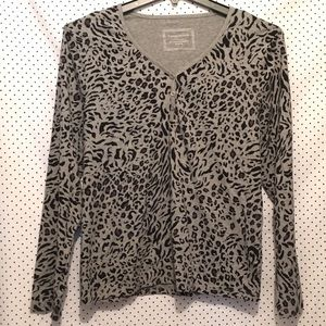 Charter Club Gray Black Animal Print V Neck Blouse